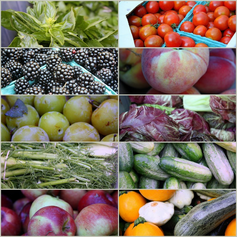 Vegetables and fruit from a CSA share