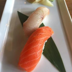 Salmon and yellowtail sushi